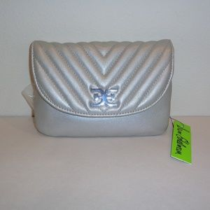 Sam Edelman HALLIE Silver Quilted Belt Bag